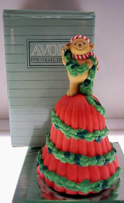 Avon PORCELAIN BELL 91 Garland of Greetings Teddy  NIB * FREE SHIP