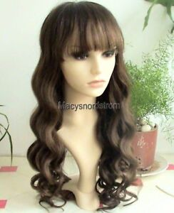 Full-Lace-Cap-100-Indian-Remy-Wig-22-Curly-w-Bangs