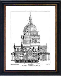 Framed architectural drawing St Paul's Cathedral Church print picture pictures