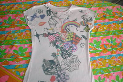 ROCK N ROLL t SHIRT PSYCHEDELIC PRINT RETRO 60S STYLE PINK SHIRT