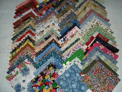 """100-4"""" QUILT SQUARES+FABRIC+QUILTING MATERIAL+ASSORTED COLORS"""