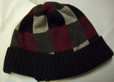 Gymboree Train Time Checked Knit Pull On Hat 3-6 Mo Free Us Shipping