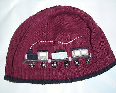 Gymboree Train Time Maroon Knit Pull On Hat 12-18 Mo