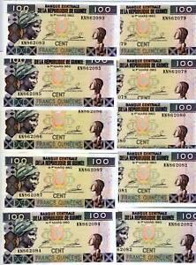 LOT-Guinea-10-x-100-Francs-1998-P-35-UNC-colorful