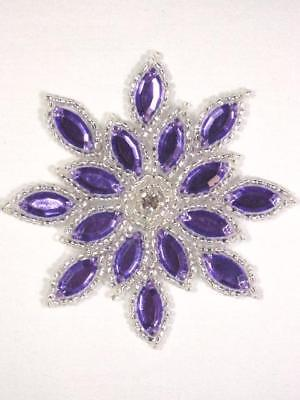 Xr32 Purple Silver Jewel Snowflake Beaded Applique 3 Sewing Crafts