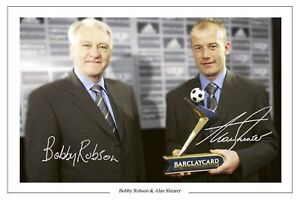 BOBBY ROBSON + ALAN SHEARER NEWCASTLE UTD SIGNED PHOTO PRINT SOCCER