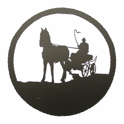 Driving Horse Black Metal Round Wall Decor