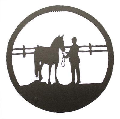 English Show Horse Black Metal Round Wall Decor