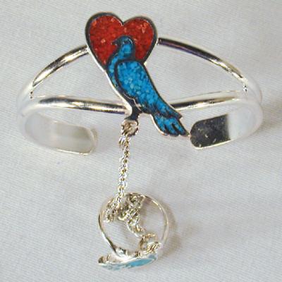 Dove W Heart Slave Bracelet 69 Chain Ring Jewelry Silver Women Ladies Set