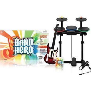 NEW-Wii-BAND-HERO-Band-Kit-Bundle-Guitar-Drums-Game-Mic