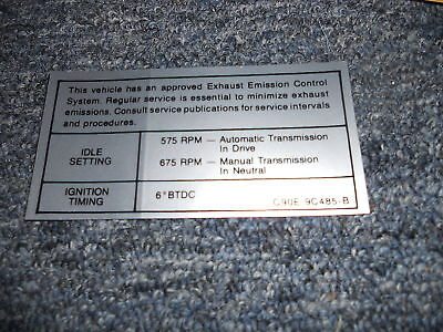1969 Ford Mustang / Mach 1 351w Engine Emissions Decal
