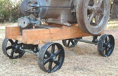 Antique Hit Miss Gas Engine Cart Parts Set Cast Iron Six Spoke Wheels