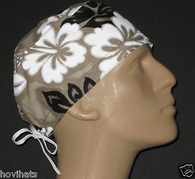Tan & Black Hawaiian Scrub Hat / Free Usa Shipping & Custom Sizing