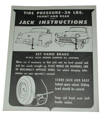 1955 Cadillac Jack Instructions Decal - In Trunk