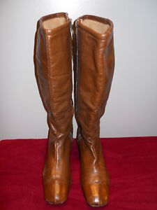vintage 60 70s brown leather winter lined square knee