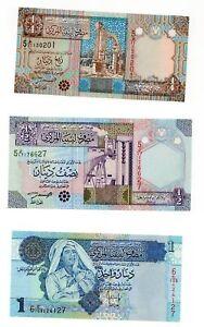 LOTE-CONJUNTO-SERIE-3-Billetes-Libia-Libia-Dinar-NUEVO-UNC