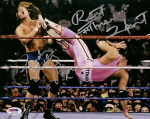 Rowdy-Roddy-Piper-Bret-Hart-Signed-8x10-Photo-PSA-DNA-COA-WWE-Picture-Autod