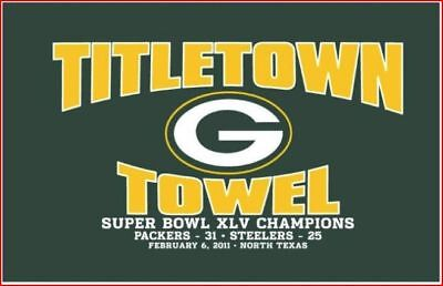 Packers Super Bowl 45 Champions Titletown Towel W Score