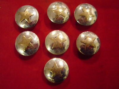 Conchos: 7 Sterling Silver 1 With Brass Star Center, Post & Screw