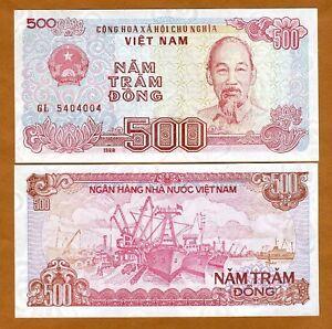 Vietnam-500-Dong-1988-1989-P-101-UNC-gt-Seaport-Boats