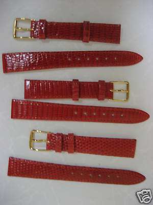 3 Genuine Lizard Red Watch Straps 14mm R Hamilton