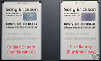 BST-41 Sony Ericsson Xperia X1 fake battery guide