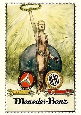 Farb-Plakat: Mercedes-Benz Oldtimer Automobile 1925