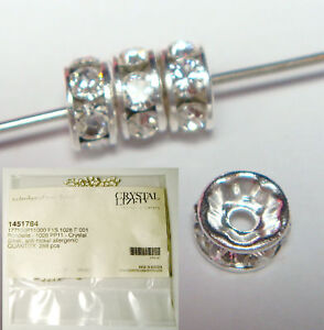 6x-SWAROVSKI-SILVER-RONDELLE-CLEAR-CRYSTAL-BEAD-SPACER-3mm