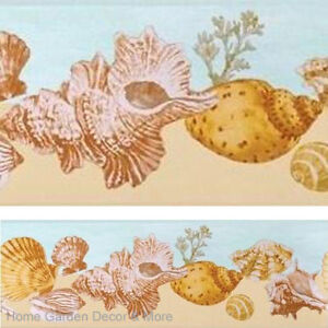 sea shell beach sand ocean beachcomer wall paper border ebay. Black Bedroom Furniture Sets. Home Design Ideas
