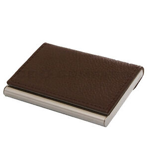 Brown Leather Business Name Credit Card ID Holder Case