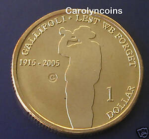 2005-1-Gallipoli-Lest-We-Forget-Australian-Dollar-Coin-C-Canberra-Mintmark-UNC