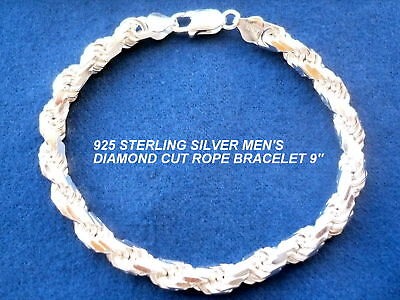 """7MM STERLING SILVER MEN'S DIAMOND CUT ROPE BRACELET 8"""" / 9"""""""