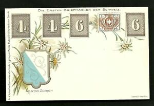 Switzerland-Schweiz-Stamps-Coat-of-Arms-Zurich-ca-1899