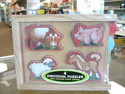 Melissa & Doug Animals Mini Puzzle 4 Pack Creative Play Hand-eye Learn Teach Toy