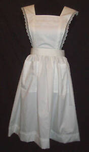 FLARED-STRAP-BIB-APRON-White-with-LACE-trim-S-M-to-3X