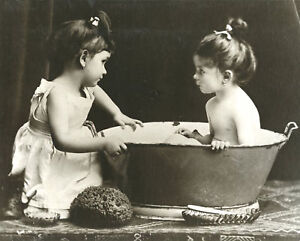 Vintage Bathing Antique Bath Little Girls in Tub Old Time Wash Tub ...
