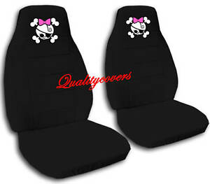 cute set of pink girly skull front car seat covers black so cool ebay. Black Bedroom Furniture Sets. Home Design Ideas