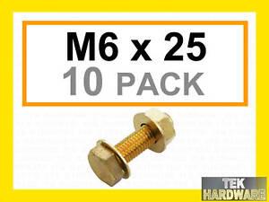 Brass-Bolts-Hex-Head-Setscrews-Nuts-Washers-M6-x-25-10Pk