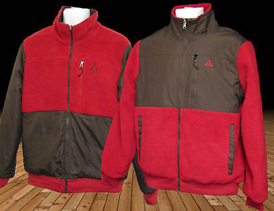 Nike Mens Acg Reversible Heavy Fleece Jackets Red Brown Medium Authentic