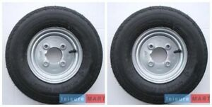 A pair 400 X 8 inch trailer wheel 4 ply high speed tyre 4 inch pcd