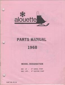 1968 ALOUETTE SNOWMOBILE PARTS MANUAL GT,GTE MODEL NEW
