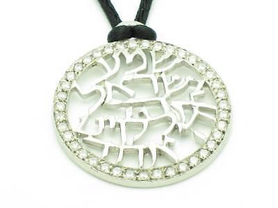 Platinum Sterling Silver .925 Shema Israel Prayer Kabbalah Good Luck Necklace