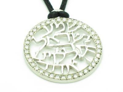 Platinum Sterling Silver .925 Shema Israel Prayer Kabbalah Good Luck Necklace