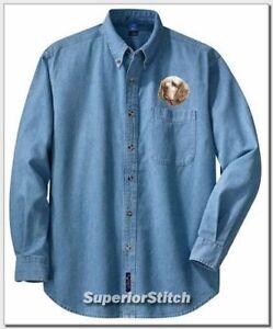 CLUMBER-SPANIEL-embroidered-denim-shirt-XS-XL