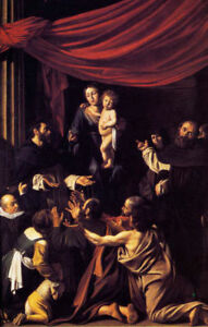 MADONNA-OF-THE-ROSARY-SAINT-DOMINIC-PAINTING-BY-CARAVAGGIO-ON-CANVAS-REPRO-LARGE