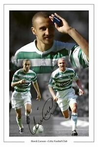 HENRIK LARSSON CELTIC LEGEND SIGNED PHOTO MONTAGE PRINT