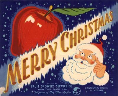 MERRY CHRISTMAS  CRATE LABEL SANTA CLAUS VINTAGE 1950S XMAS ANTIQUE