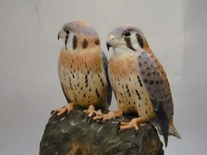 Baby American Kestrel Pair Original Wood Carving | eBay