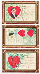 3-Vintage-VALENTINES-DAY-Postcards-SET-Wishbone-Heart