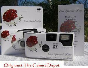 10-red-rose-bouquet-DISPOSABLE-WEDDING-CAMERAS-35mm-NEW-in-box-candid-photos
